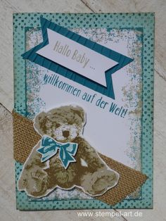 Unentbärliche greetings to stamp type Stampin up, Teddy, Timeless Textures, Baby, ocean waves