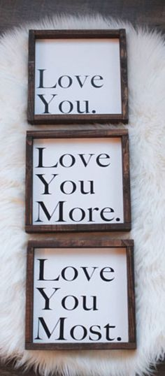 I Love You Wood Signs. 3 Piece Set. Bedroom Wall Decor. Nursery Decor. Love Signs. Love You More Love You Most