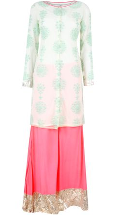 Offwhite and pink embroidered kurta set BY MASABA available only at http://www.perniaspopupshop.com/whats-new/masaba-offwhite-and-pink-embroidered-kurta-set-mao071305.html