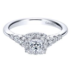 Gabriel 14K White Gold Pre-Set Princess Cut Diamond Halo Engagement Ring w/ Graduating Prong Set Diamonds Featuring 0.81 Carats Diamonds. Style ER911367S0W44JJ