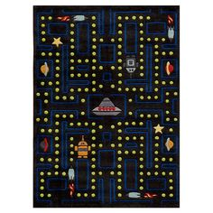 Rug with arcade game motif.   Product: RugConstruction Material: AcrylicColor: Arcade black