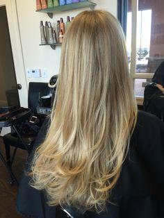 Shear Designs by Liana: Blonde hair, long hair, blonde balayage, highlights, layered haircut.