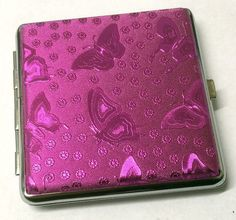 Shiny Pink Butterfly Design CIGARETTE KING SIZE CASE Approx 18 - 20 Cigarettes