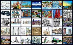 Collage Barcelona ilustrada