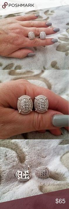 Judith Ripka ~ Classic Oval Diamonique Earrings Judith Ripka.  A pair of signature style earrings with loads of Diamonique simulated diamonds.  These are a classic JR design with maximum sparkle & impact. Judith Ripka Jewelry Earrings
