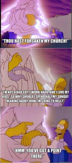 "Within this pin, it uses a popular Television series ""The Simpson"" to exemplify atheist religion. This is in my digital scrapbook because its using religion in popular shows to show personal beliefs throughout todays pop culture. This was a meme put on a social media site called ""tumblr"" which is a site I use as well to blog things I am interested in."