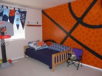My son LOVES basketball and wants to be in the NBA. We redecorated his room in basketball for his birthday gift. We wanted this to be a su. Bedroom Themes, Bedroom Wall, Kids Bedroom, Bedroom Decor, Bedroom Ideas, Bedrooms, Boys Basketball Room, Basketball Stuff, Up House