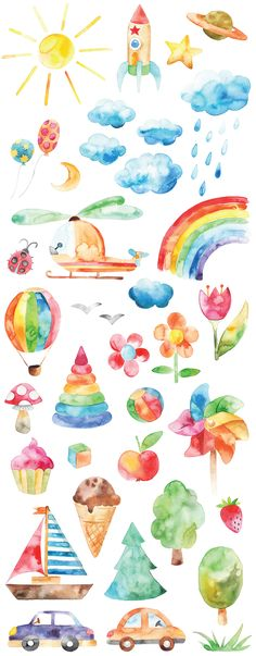 Watercolor happy childhood set Love all these watercolor drawings! Rainbow flowers, icecream and toys, it would look great in print in the kids room [. Watercolor Trees, Watercolor Drawing, Watercolor Stickers, Kids Watercolor, Watercolour Paintings, Watercolor Portraits, Watercolor Landscape, Rainbow Flowers, Tree Illustration