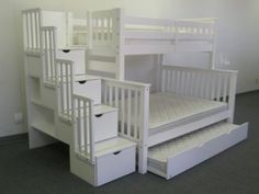 Amazon.com: Stairway Bunk Bed Twin over Full in White with 4 Drawers Built in to the Steps and a Twin Trundle: Furniture & Decor