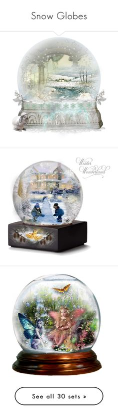 """Snow Globes"" by sofirose ❤ liked on Polyvore featuring magic, Snowglobe, art, artset, peace, joy, MerryChristmas, happyholidays, holidaycard and snow"
