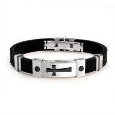 Two Tone Rubber Black Stainless Steel Mens Cross ID Bracelet 8in