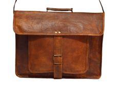 """Vintage Leather Laptop Bag, Messenger Bag or Briefcase for Men & Women. 12"""" x 16"""" x 4.5"""""""