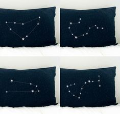 ~Zodiac Pillow Cases~ I can totally see this on my bed...Scorpio for me & Capricorn for my hubby! Sweet!  Zodiac_BC1