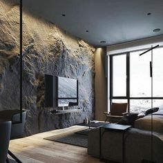How To Use Lighting And Textures To Add Interest To Dark Interiors wood floors grey walls How To Use Lighting And Textures To Add Interest To Dark Interiors Apartment Interior, Apartment Design, Interior Design Living Room, Living Room Decor, Bedroom Decor, Studio Interior, Cafe Interior, Bathroom Interior, Design Your Home