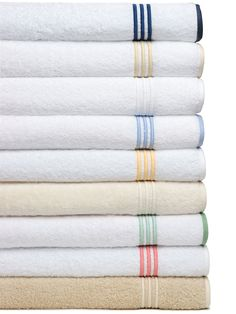 Hampton Court Towels. Plush, thirsty, 100% Egyptian Cotton Terry towels are oversized and wonderfully accented with a classic three line embroidery. #SchweitzerLinenPin2Win