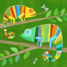 """Etsy; Striped Chameleons Print 12"""" x 12"""" / täältä löytyy ihania kuvia, tämäkin toimisi paperileiketyönä niin hienosti..."""