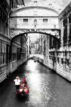 Urban Photography Poster: Designed by Antoni Contino and constructed of white limestone in the early 1600s, 'Ponte dei Sospiri' or 'The Bridge of Sighs' in Venice passes over the Rio di Palazzo connecting the old prisons to the interrogation rooms in the Doge's Palace. Local legend has it that lovers are guaranteed eternal love if they kiss on a gondola at sunset under the bridge.