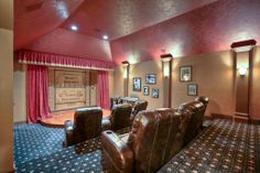 This is an amazing theater room. It offers ample seating and a stage complete with red curtain. It has 7 point surround sound, two closets & built-in snack area.