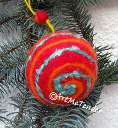Christmas gift. Beautiful ornament for the Christmas tree.Wool, rayon treads,needle felt, wet felt,christmas decor,home decor,abstract