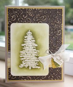 Little Bay Stampin': Countdown to Christmas - Layered Emboss Resist Tree