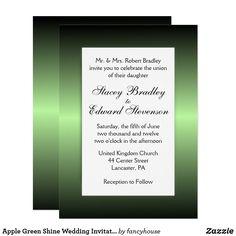 Apple Green Shine Wedding Invitation 60% off