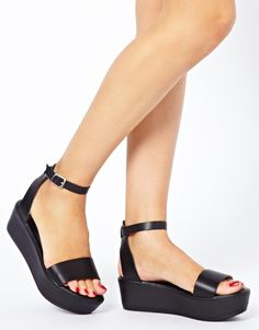 Image 3 of ASOS JUMP Leather Flatform Sandals