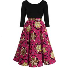 Neema African Print Mid Length Circle Skirt (Pink/Yellow)