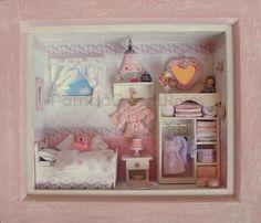 Dormitorio de niña con miniaturas