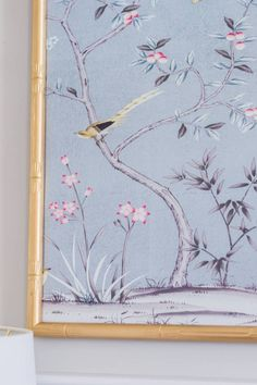 Up-close detail of Tempaper Garden Metallic Ice Blue Chinoiserie panels! Shop this special order collection here: https://www.tempaperdesigns.com/shop-tempaper/chinoiserie-by-tempaper.html