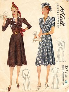 Very Glamourous 1940s Vintage McCall Pattern by daisyepochvintage, $34.00