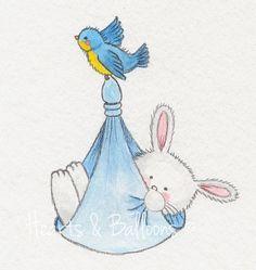 Childrens art Bunny Rabbit watercolour by heartsandballoons