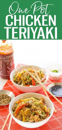 These One Pot Chicken Teriyaki Bowls with veggies and rice are the perfect weeknight dinner – they're made in one pan for minimal clean up! #teriyakichicken #onepot Low Carb Recipes, Whole Food Recipes, Healthy Recipes, Delicious Recipes, Teriyaki Bowl, Teriyaki Chicken, One Pot Dinners, Meals For Two, Clean Eating Recipes
