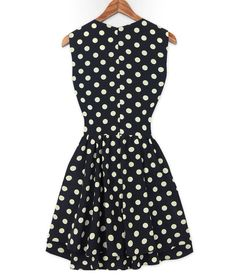 Fashion Plunging Neck Polka Dot Print Beam Waist Sleeveless Pleated Dress For Women