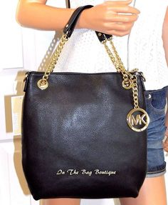 7e0a190955dc00 MICHAEL KORS Jet Set Chain Black Leather Shoulder Tote Bag Purse NWT