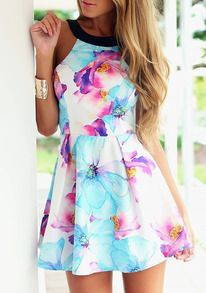 Blue Strap Floral Slim Flare Dress