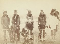 Cheyenne warriors pose for a photograph in 1863, two years after the beginning of the American Civil War. After half a century of violent clashes the hostility between the tribe and the US government culminated in the Battle of the Little Bighorn in 1876 - which led to the US Cavalry's defeat and the death of General George Armstrong Custer