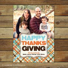 Happy Thanksgiving card, modern plaid photo card. $15.00, via Etsy.