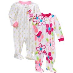 Garanimals Newborn Baby Girl Cotton Sleep n' Play, 2-Pack - Walmart.com