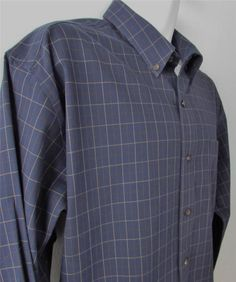 Men Eddie Bauer Shirt Nano Care Plaid Button Down Collar Casual sz Large EUC