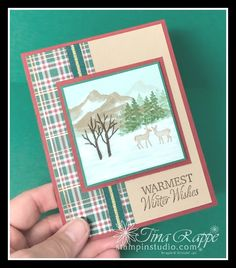 How to create a Winter scene with Snow Front stamp set - Stampin' Studio - Holiday Stamped Christmas Cards, Stampin Up Christmas, Xmas Cards, Holiday Cards, Cozy Christmas, Paper Crafts Magazine, Winter Cards, Masculine Cards, Card Kit