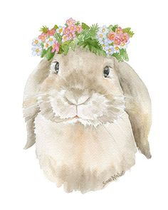 Bunny Rabbit Wreath Watercolor Painting 11x14 Giclee Print Woodland Animal Girls Room Fine Art Nursery Lop Rabbit
