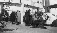 A group of survivors of the Titanic disaster aboard the Carpathia after being rescued, April 1912. The Titanic was considered unsinkable but foundered in frigid Atlantic waters off Newfoundland after striking an iceberg. About 700 passengers survived in lifeboats, but some 1,500 perished in the sinking. REUTERS/Library of Congress/Handout