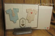 Stampin' Up!, Happy Notes, Sweet LI'l Things Designer Series Paper, twins baby shower invite DIY Crafts, More info on my blog:  http://www.carolpaynestamps.com/2015/11/stampin-up-happy-notes-and-online-extravaganza-begins-today.html