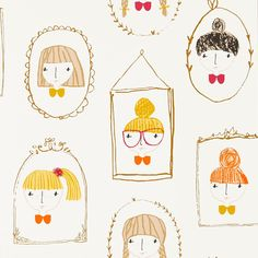 Scion Hello Dolly 111266 (Sunshine/Tangerine) wallpaper from the Guess Who collection, priced per roll. Including all the latest à la mode hairstyles, the Hello Dolly wallpaper is perfect for any young fashionista's dressing room