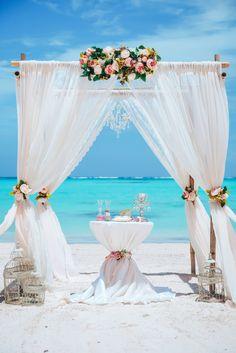 Your Caribbean Wedding in Dominican Republic. Wedding Ceremony Arch, Beach Wedding Reception, Beach Ceremony, Beach Wedding Decorations, White Wedding Arch, Little Mermaid Wedding, Decoration Evenementielle, Beach Theme Wedding Invitations, Beach Wedding Inspiration