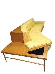 mid century modern curved sofa with end table