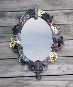 Upcycled and Recycled Men's Neckties silk tie decoupaged mirror frame