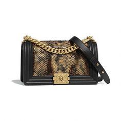 b9f2c0e17d2 BOY CHANEL Handbag Python, Calfskin  amp  Gold-Tone Metal Bronze  amp  Black