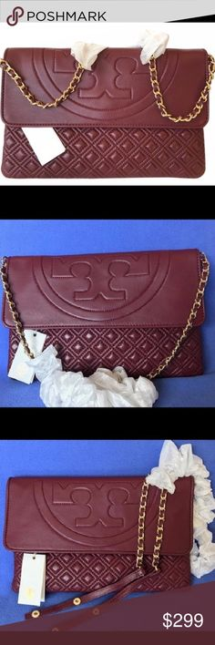 "Fleming Quilted Clutch Convertible Shoulder Bag Ladylike quilting and chains: the link to a pulled-together look. Made of supple leather detailed with a top-stitched logo, a unique diamond pattern and functional interior pockets. Finished with an removable shoulder strap, it's dressy yet easy -- a classically chic style for day or evening. Fold-over flap with magnetic snap closure. Interior zipper pocket and two open pockets. Removable leather and chain shoulder strap with 14"" (37 cm) drop…"