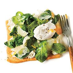Superfast Vegetarian Recipes | Arugula Pizza with Poached Eggs | CookingLight.com